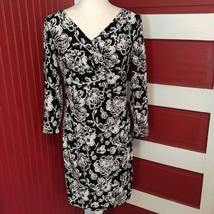 Ralph Lauren Floral V-Neck  Dress B&W